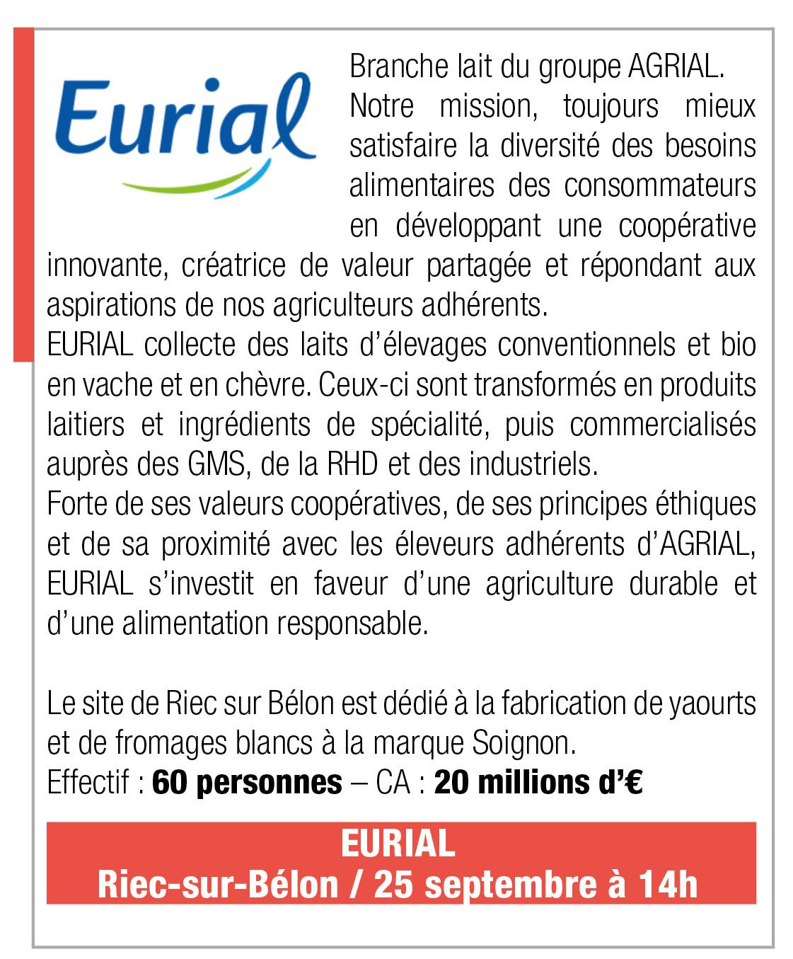 Inscription Eurial, 25 septembre 2019, 14h, Riec sur Belon