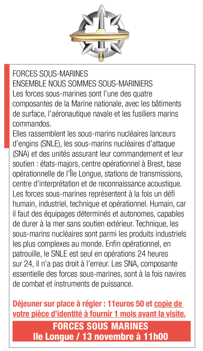 Inscription Forces Sous Marines, 11h, L'Ile Longue