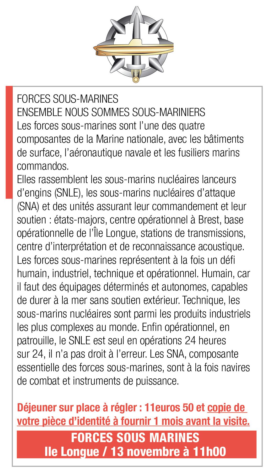 Inscription Forces Sous Marines, 11h, L'Ile Longue
