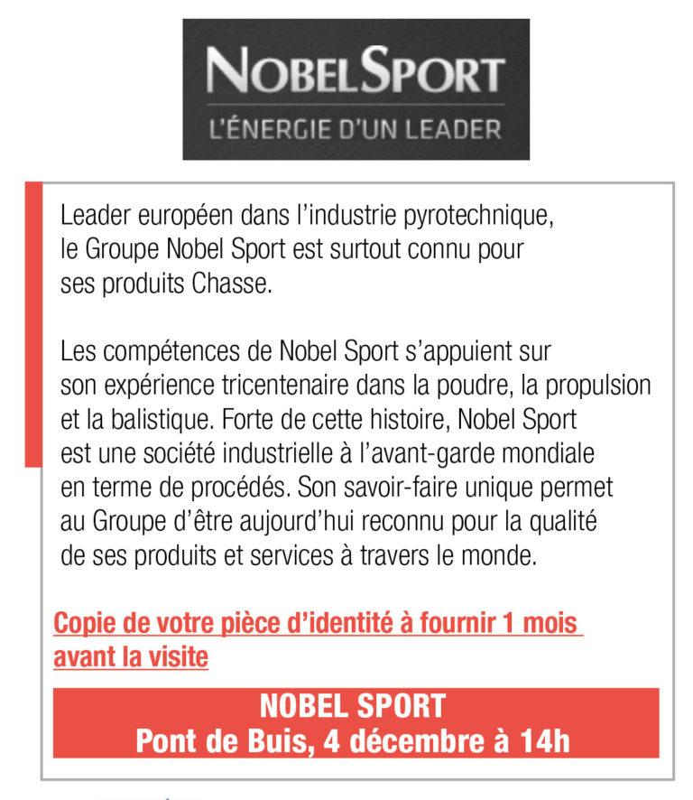 Inscription Nobel Sport, 4 décembre, 14h, Pont de Buis