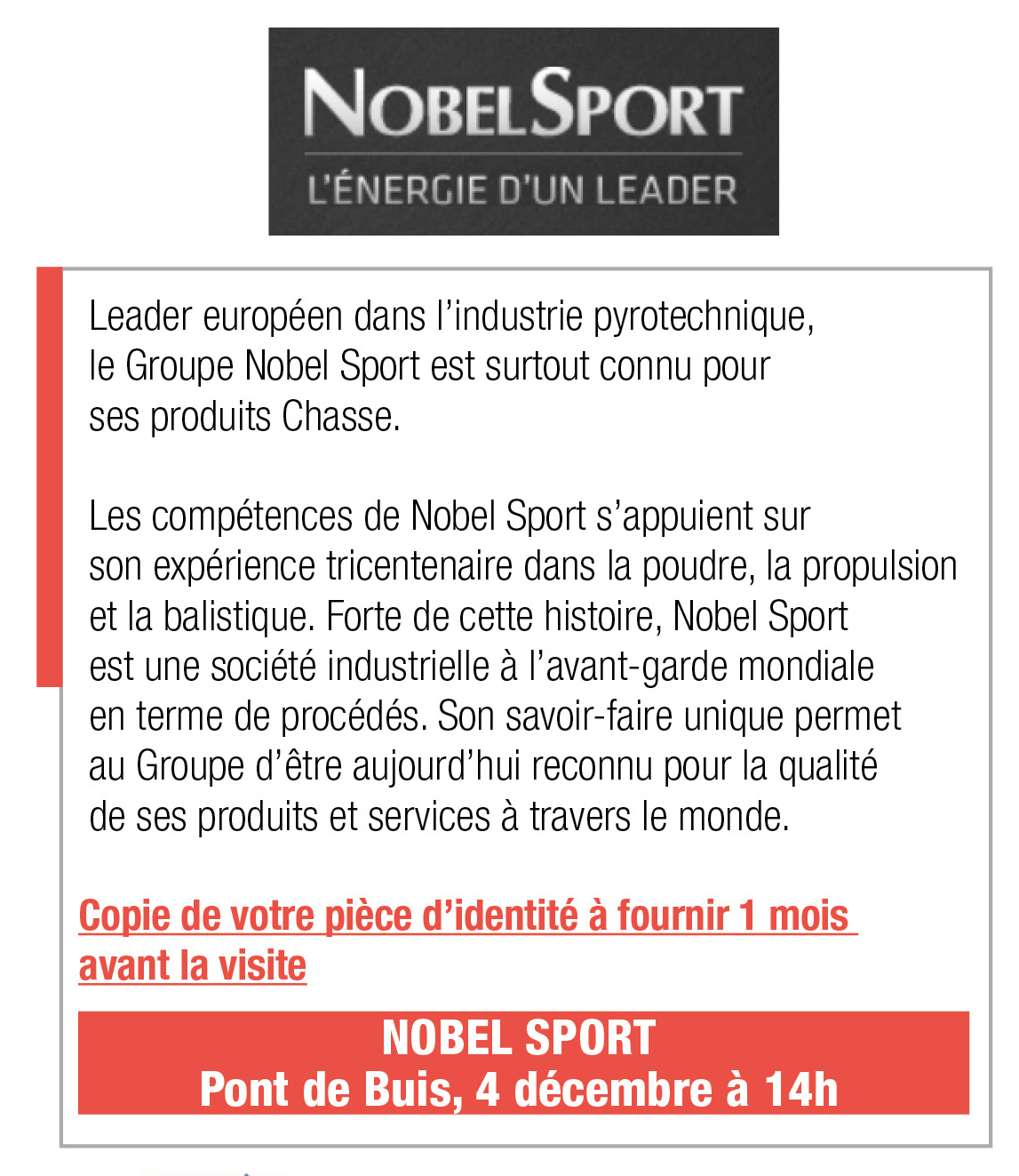 Inscription Nobel Sport, 4 décembre, 14h, Pont de Buis