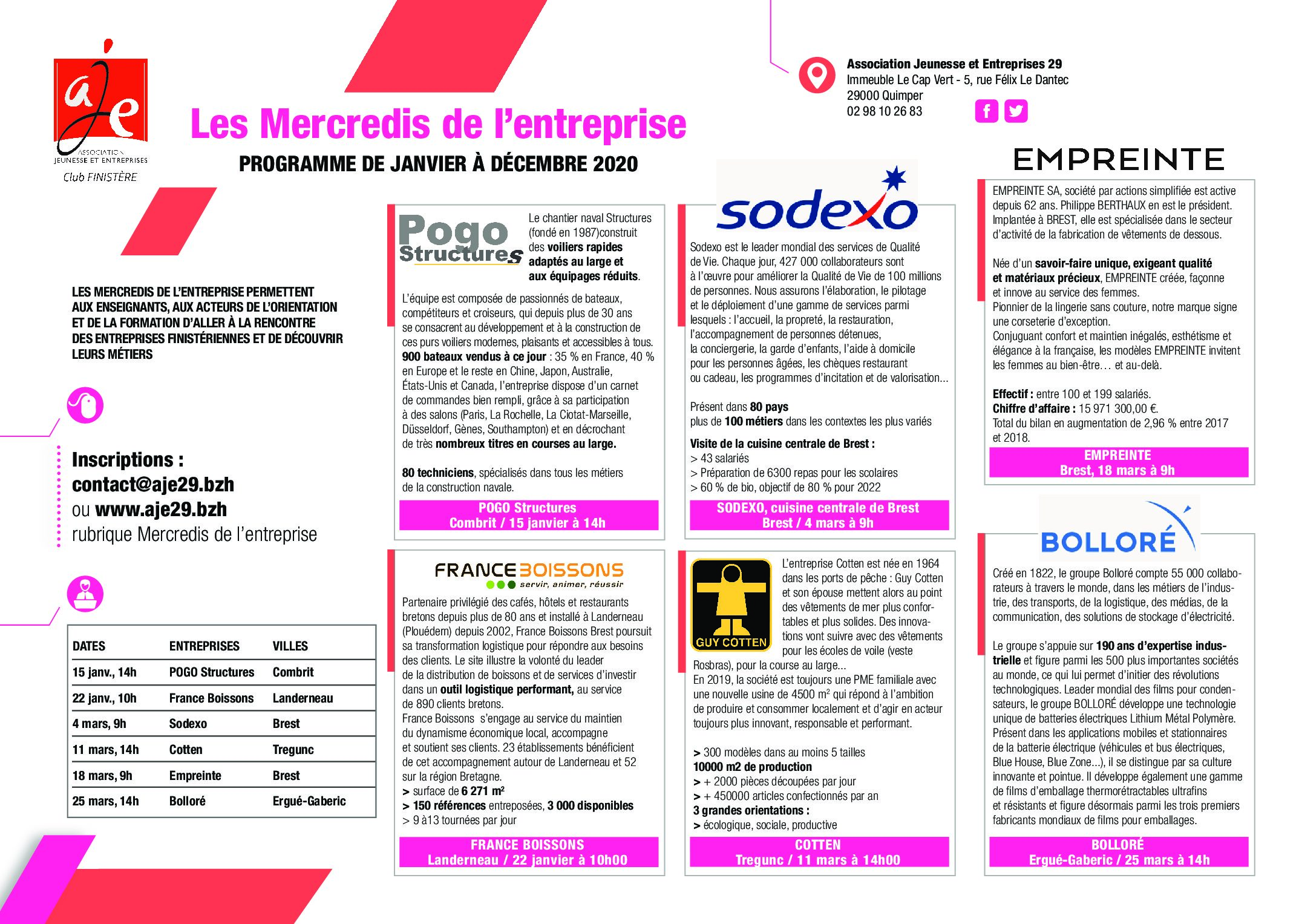 Programme 2020 des Mercredis de l'entreprise