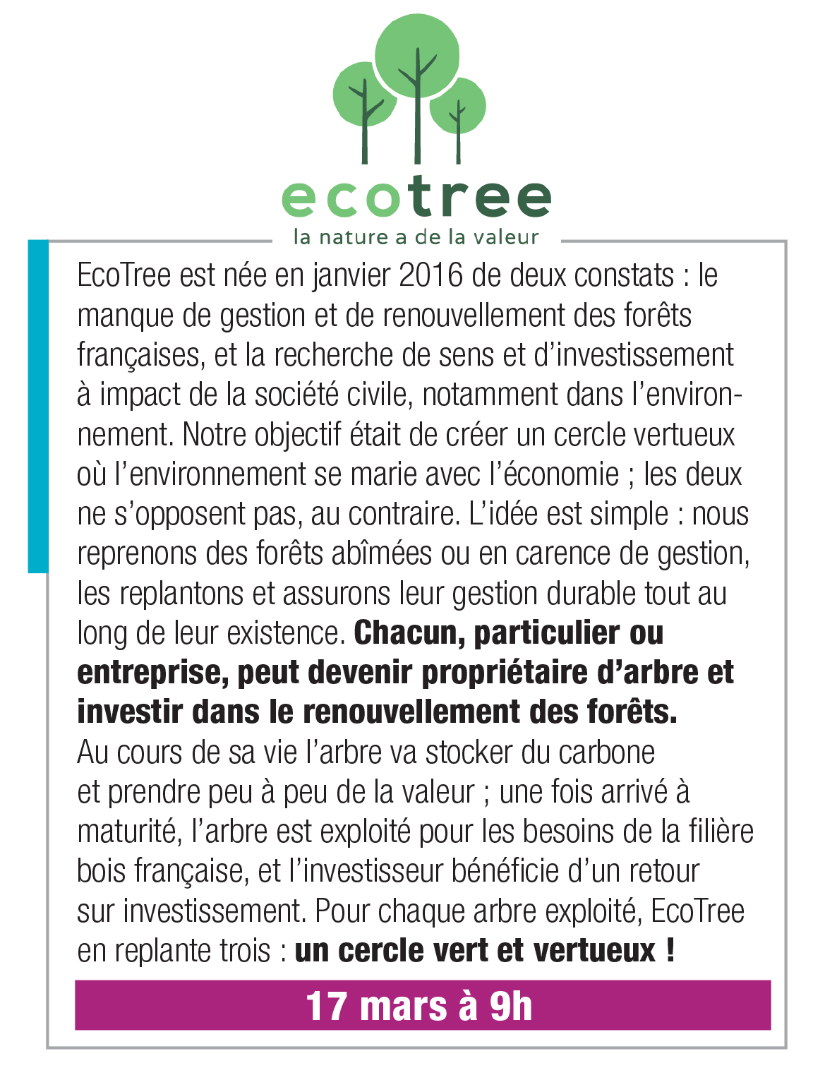 Ecotree – 17 mars 9h00