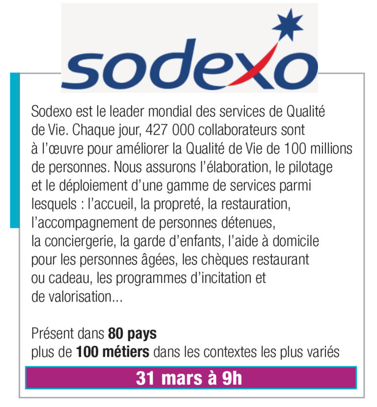 SODEXO – 31 mars 9h00