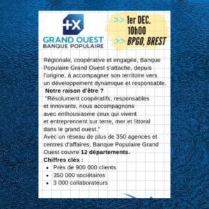 Inscription Banque Populaire du Grand Ouest – Mercredi de l'entreprise, 1er déc. 10h00 Brest