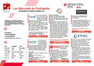 Programme Mercredis de l'entreprise Sept./Déc. 2019