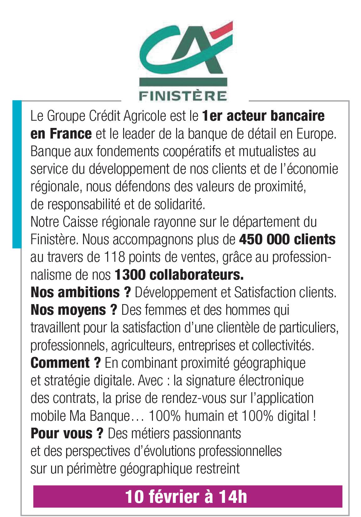 Crédit Agricole du Finistère – 10 février 14h00